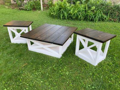 Rustic coffee table living room set