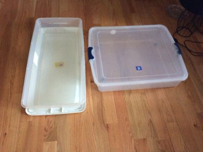 2 Under Bed Storage Containers with Lids. Prefer Morton p.p.u.