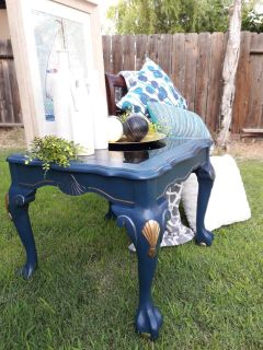 Vintage restored side/end table with a smoky beveled glass insert