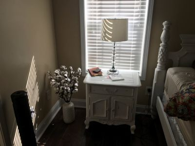 White Distressed Antique Nightstands (2)