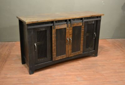 Rustic Solid wood 60 inch Black TV Stand