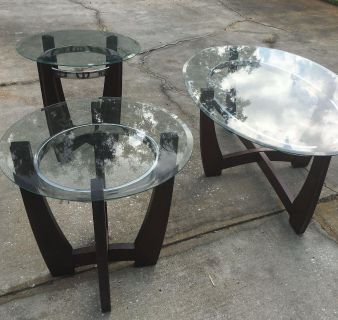 Matching glass table set up