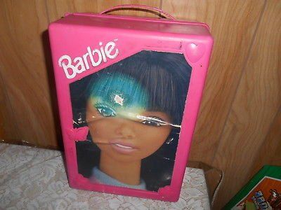 Pink Plastic Mattel Barbie Doll Case Trunk Wardrobe! .