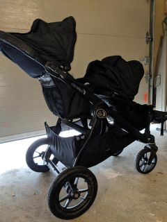 Baby Jogger City Select Double Stroller + baby seat adapter