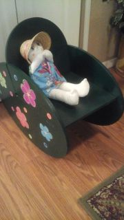 Whimsical Child's Rocking Chair With Hand Made Baby Doll