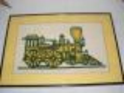 Framed Yellow Needlepoint train