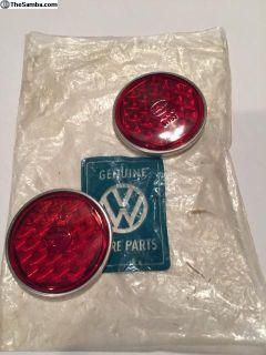 NOS Split Window Bug Tail Light Lenses in the bag