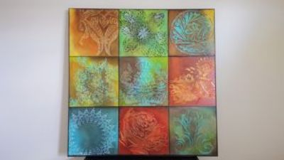 "Original (LARGE) Hand-Painted ""Variegated"" Artwork - OVER 3' x 3' in size!"