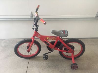 Boys 16 Cars bike with training wheels