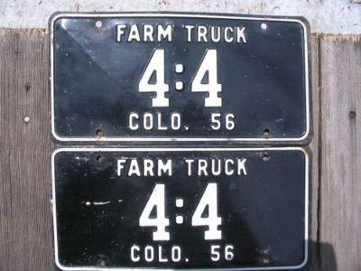 "Sell 56 1956 Colorado Farm Truck LIcense Plate SET of 2 very unusual number ""4:4"" motorcycle in Simla, Colorado, United States, for US $144.56"