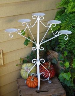Large White Vintage Wrought Iron French Country Farmhouse Candleabra Candle Holder