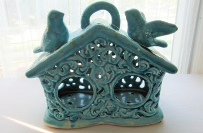 """Brand new with tags Ceramic Birdhouse - approx 10"""" wide"""