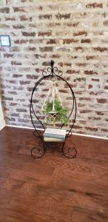 """Black Metal Plant Hanging Stand with Shelf. Great for a Houseplant or Outside. 42"""" H x 19"""" W x 15"""" D."""