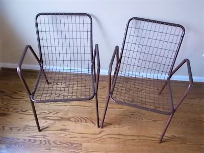 Vintage Mid-century Metal Wire Patio Chairs - Rio