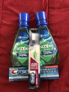 Crest Mouthwash & Toothpaste plus free toothbrush