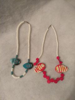 Vintage fish necklace set of two