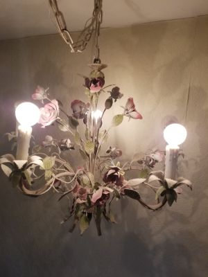 Pale pink and green chandelier