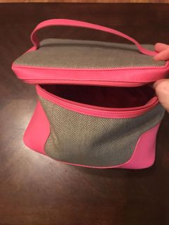 Pink and gray cosmetic case