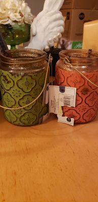 2 new lanterns glass jars for tealight candles or decor'