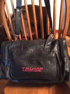 "Purchase ""TRUMP CASINO"" Black Leather Carry-on Tote Bag ""COLLECTORS ITEM"" motorcycle in La Grange, Illinois, United States, for US $149.95"
