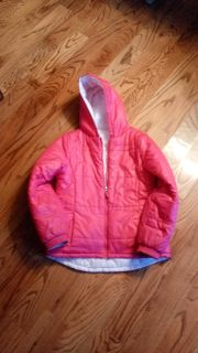 Dark pink puffer coat. Great condition. Size 14/16