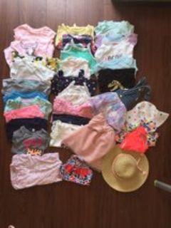 Lot of baby girl clothing (12 month) summer items (32 items total)