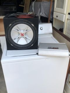 Sub and amp with wiring kit,