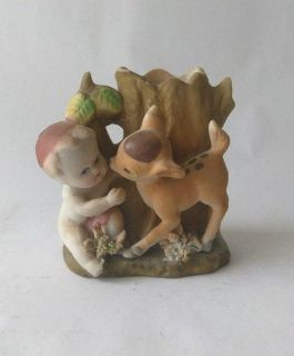 1950s Japan Baby Cherub & Fawn Bud Vase. Hand Painted Bisque Porcelain