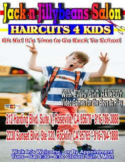 Back to School HAIRCUTS 4 Kids 916-786-3888