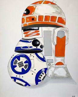 R2d2 and bb8 paintings