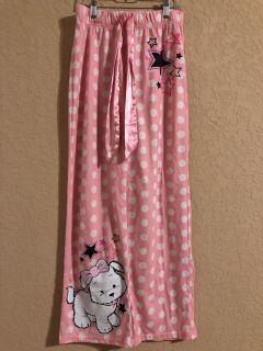 Justice Brand Pink And White Dog Pjs Pants. Size 14. Nice Condition