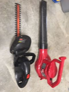 Toro Blower& Black and Decker hedge trimmer