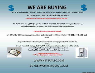 WE BUY $$$ WE BUY USED AND NEW COMPUTER MEMORY/RAM, CPU S/NETWORKING/DRIVES CISCO, INTEL, EMC &MORE WE BUY COMPUTER SERVERS, NETWORKING, MEMORY, DRIVES, CPU S, RAM & MORE DRIVE STORAGE ARRAYS, HARD DRIVES, SSD DRIVES, INTEL & AMD PROCESSORS, DATA COM,