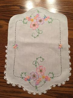 16 x 12 Small Vintage Embroidered and Crocheted Dresser Scarf