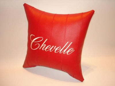Buy vintage custom made CHEVELLE car show pillow red with white embroidery motorcycle in Bartlesville, Oklahoma, US, for US $9.95