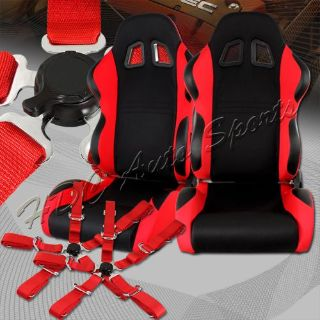 Find TYPE-7 Black / Red Fully Cloth Racing Seats + 5-Point Red Seat Belt Universal 3 motorcycle in Walnut, California, United States, for US $299.99