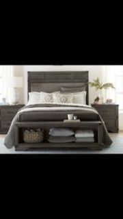 Grey wood bed frame with built in front storage