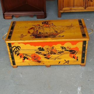 Pirate Toy Box. Restained and Polished. Some wear on top. 30x15x13