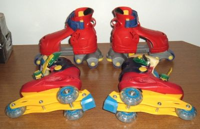 2 Pairs Fischer Price 1-2-3 Adjustable Grow with Me Roller Skates Fits Size 7-9 7 8 9