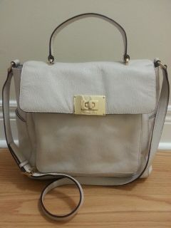 MICHAEL KORS CREAM COLOR LEATHER TOP HANDLE WITH LONG STRAP. # 0111-QA AUTHENTIC
