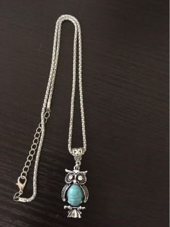 Teal owl pendant and necklace with adjustable clasp new! - 17 inches long