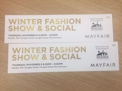 2 tickets to Mayfair shopping mall grand opening on Nov 8