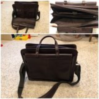 Wilsons Leather Dakota Side Rod Zip Leather Briefcase Bag