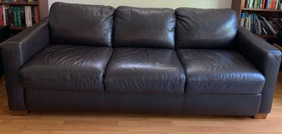Chocolate brown leather sleeper sofa