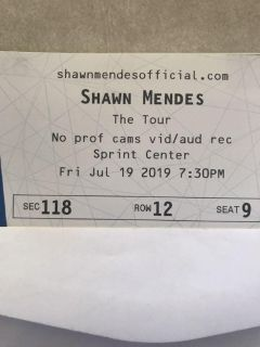 Shawn Mendes 2 tickets KC show lower level 118 row 12
