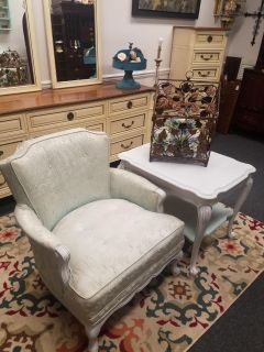 French Provincial upholstered chair and side table