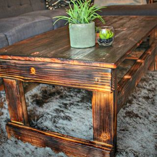 Charred wood farmhouse style coffee table