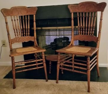 Two Antique Oak and Cane Chairs