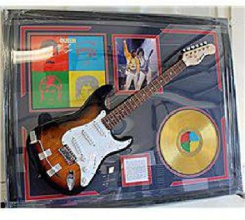 $600 Autographed Queen Guitar With Golden Record, Bio and Album Cover! AR4278