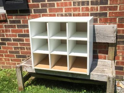 Wood Storage Cubby, perfect for shoes or smaller items, has some weight to it, will need wiped down **READ FULL DESCRIPTION BELOW